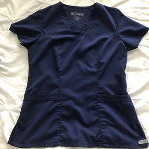 Navy blue Grey's Anatomy scrub top